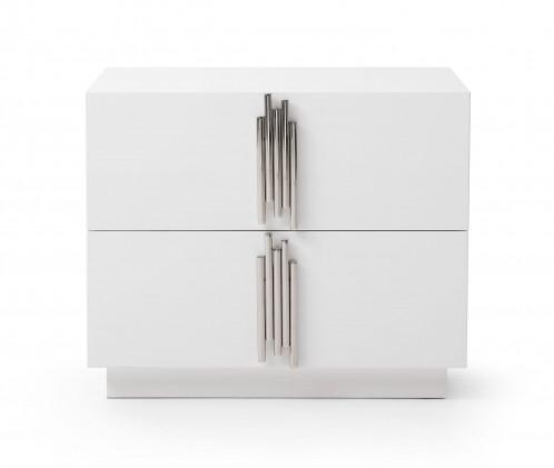 Modrest Token - Modern White & Stainless Steel Nightstand