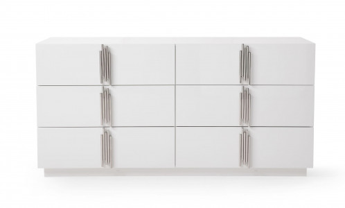 Modrest Token - Modern White & Stainless Steel Dresser