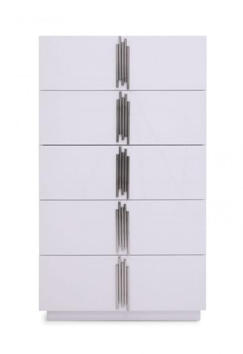 Modrest Token - Modern Glossy White & Stainless Steel Chest