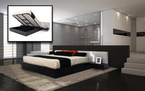 Torino Modern Platform Eastern King Bed w/ Storage