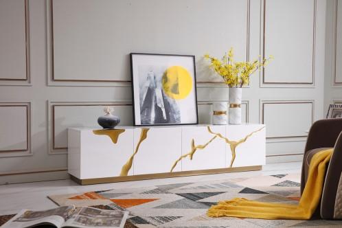 Modrest Aspen Modern White & Gold TV Stand