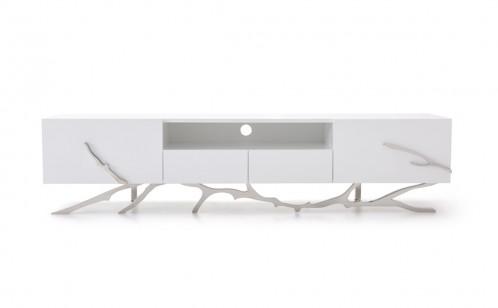 """Modrest Legend 79""""-Wide Modern White TV Stand"""