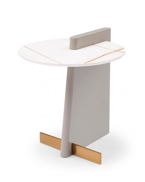 Modrest Varum - Modern White, Grey & Gold Ceramic End Table