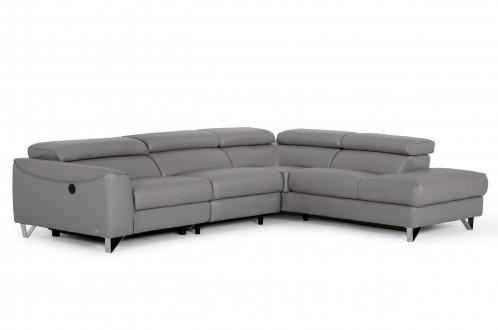 Divani Casa Versa - Modern Grey Teco Leather RAF Chaise Sectional w/ Recliner