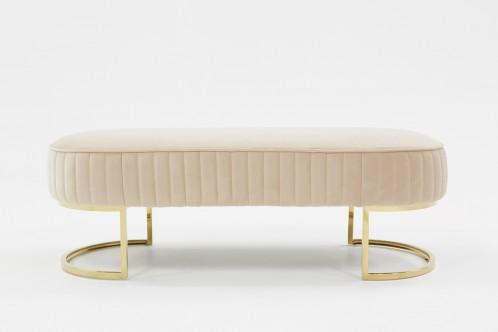 Divani Casa Visalia Modern Beige Velvet & Gold Bench