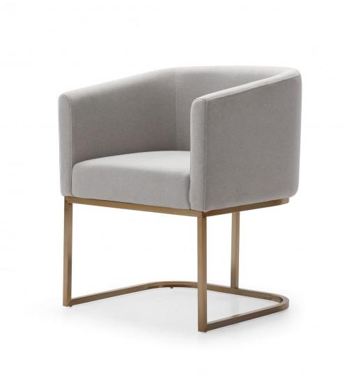Modrest Yukon - Modern Light Grey Fabric & Antique Brass Dining Chair