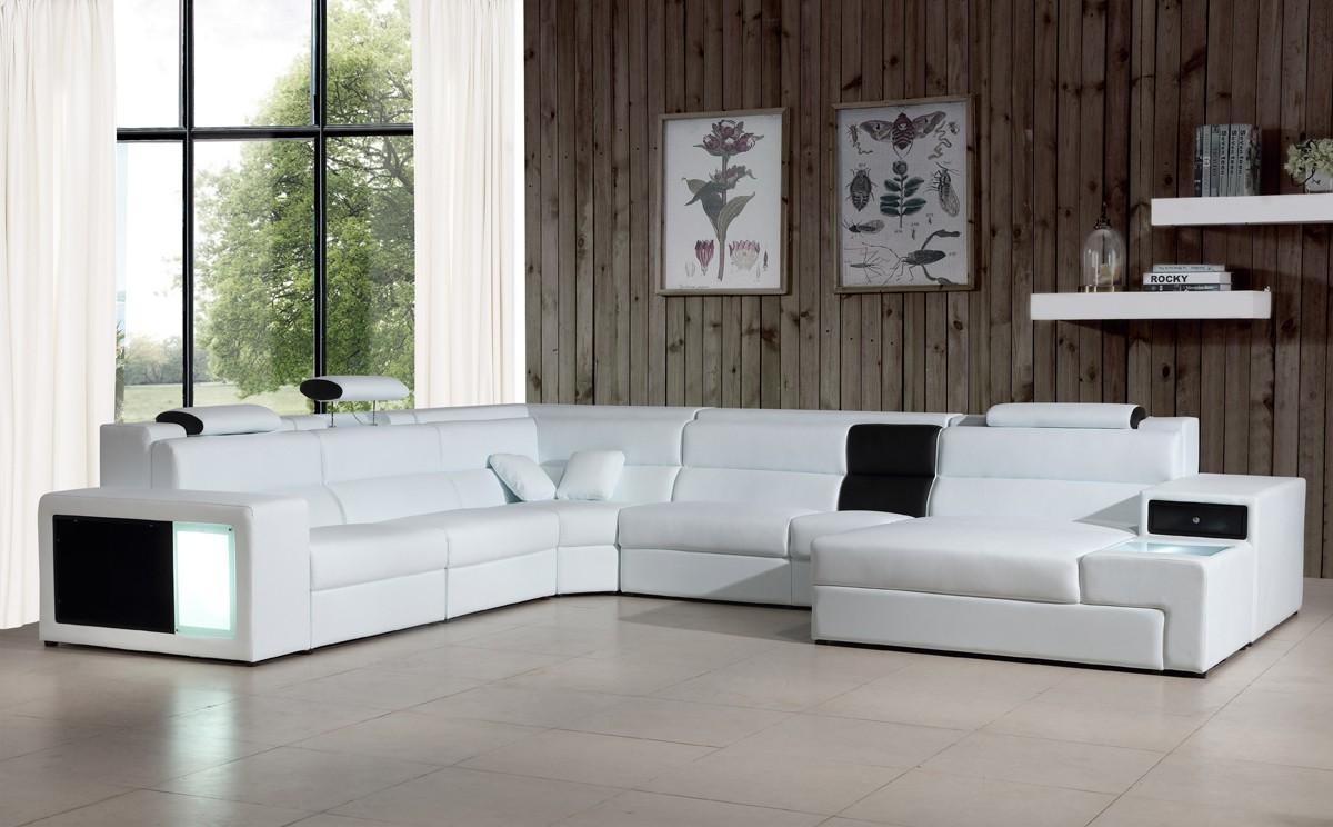 Polaris Italian Leather Sectional Sofa In White