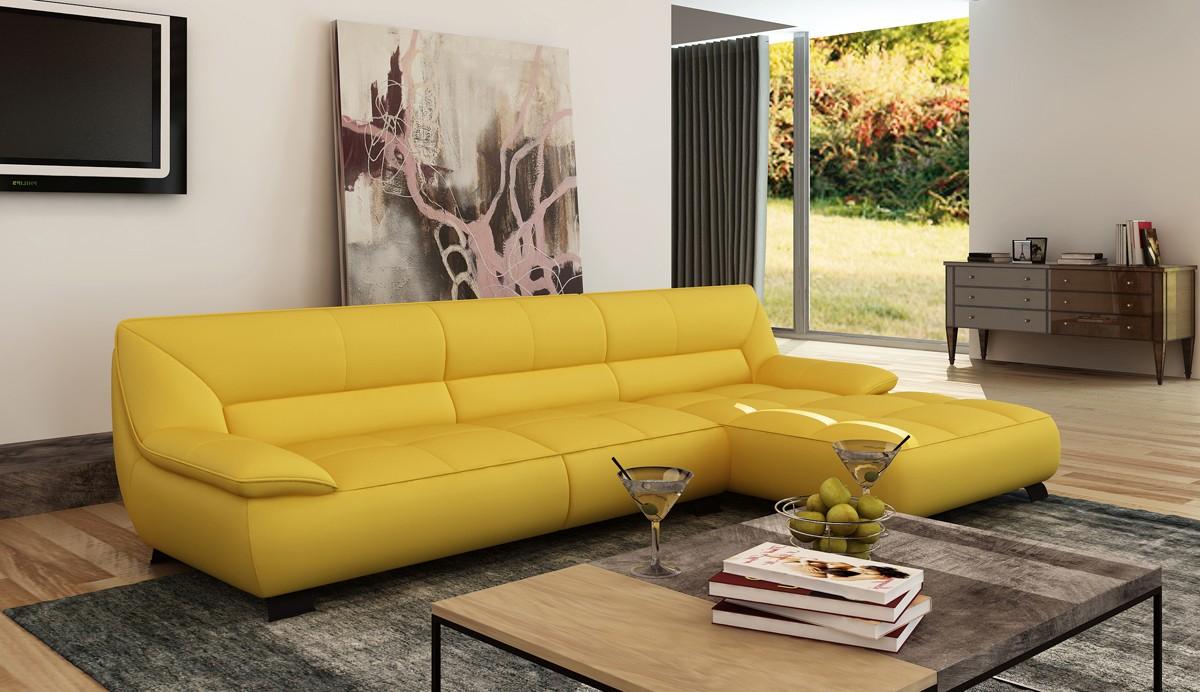 Divani Casa 5121B Modern Yellow Italian Leather Sectional ...