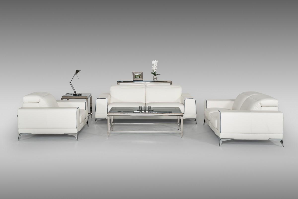Estro Salotti Bolton Italian Modern White & Blue Leather Sofa Set