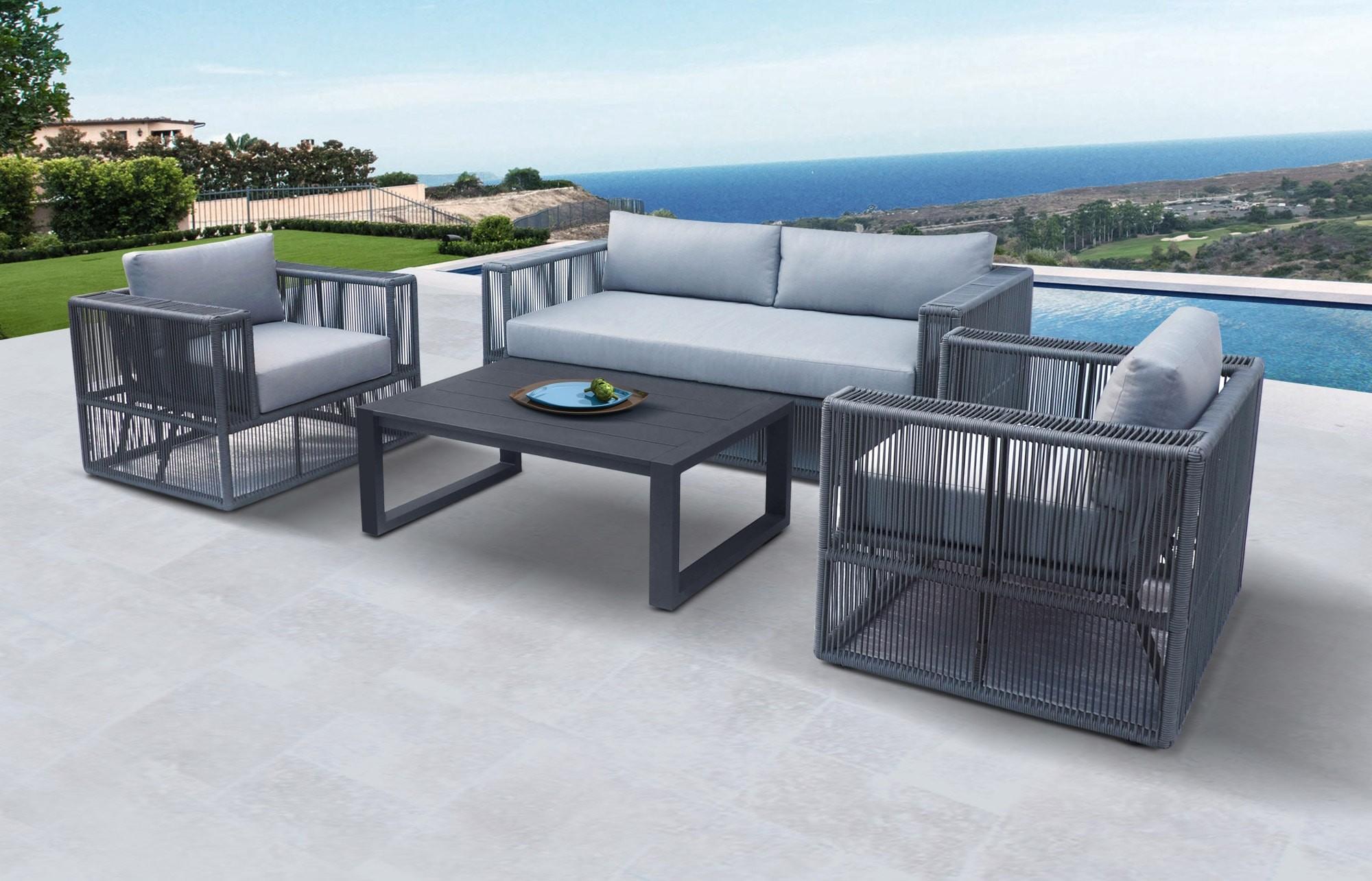 Picture of: Renava Whimsy Modern Outdoor Light Grey Dark Grey Sofa Set