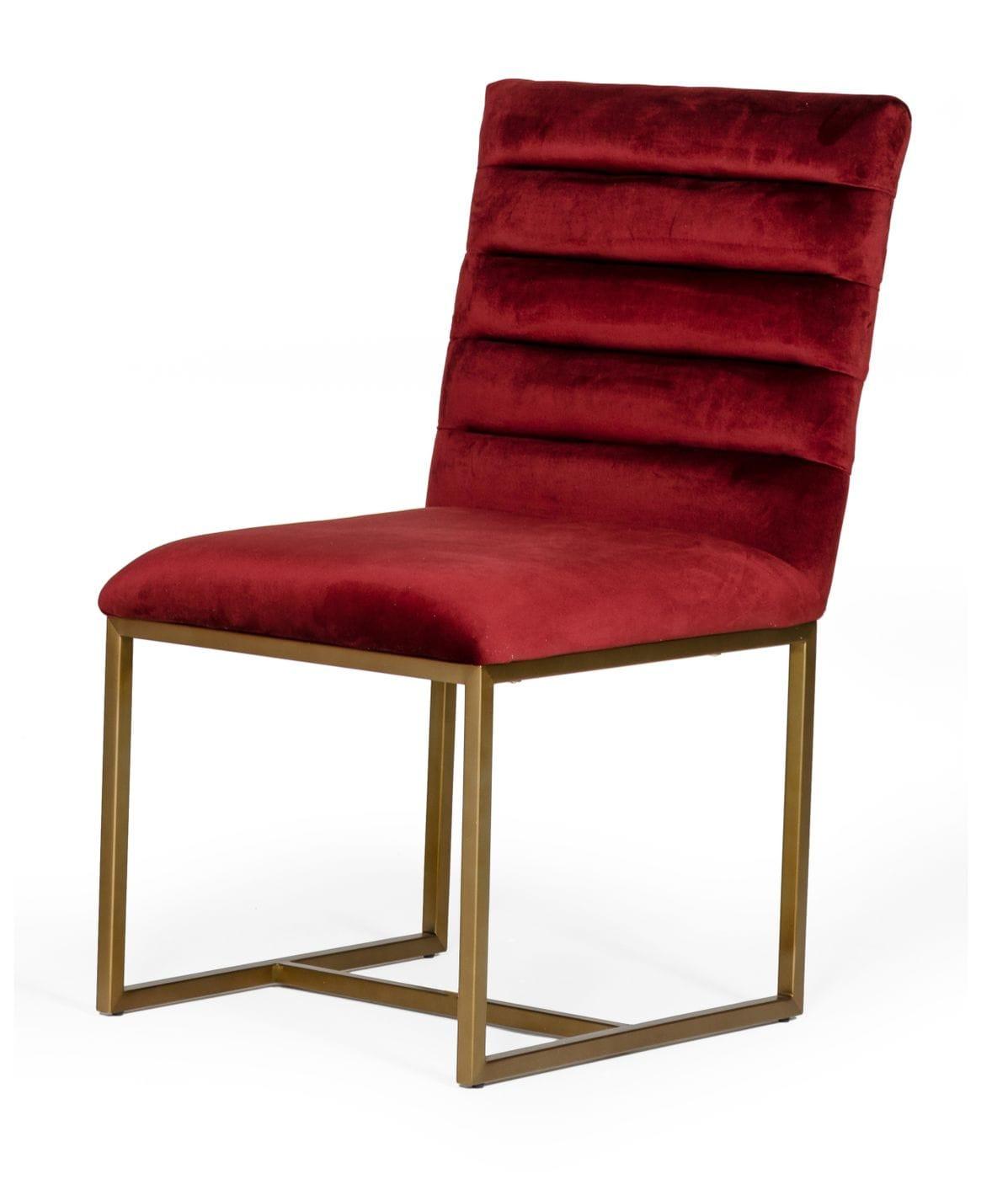 Modrest Barker - Modern Red & Brush Gold Dining Chair (set ...