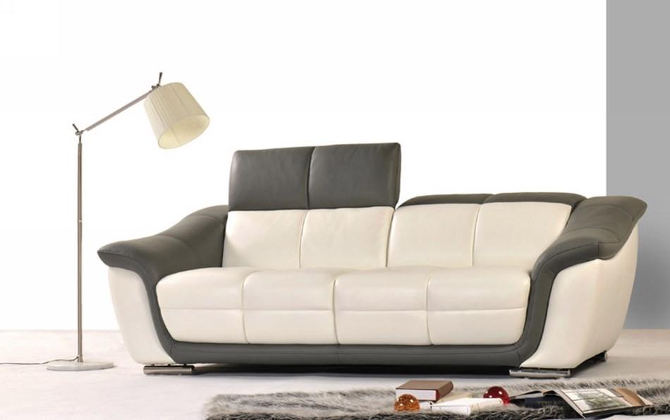 9566 Modern 2-Tone Leather Sofa Set