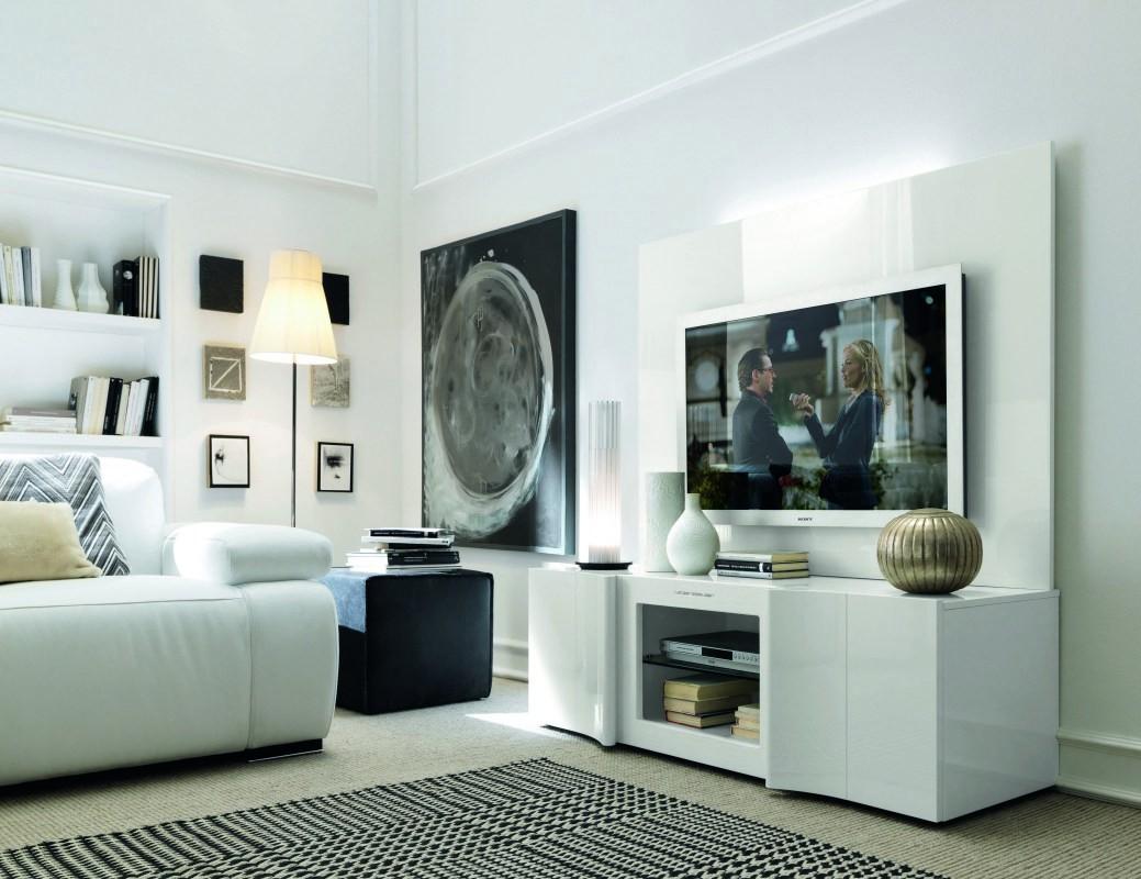 Armonia modern italian white entertainment center for Living room entertainment