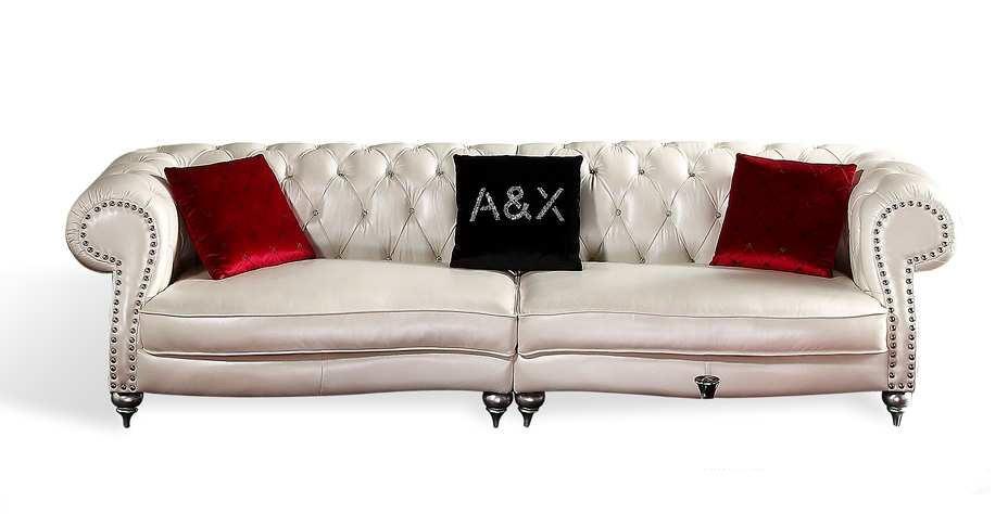 White Tufted Leather 4 Seater Sofa
