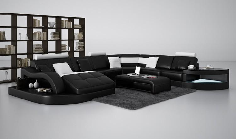 Divani Casa 6140 Modern Black And White Leather Sectional Sofa