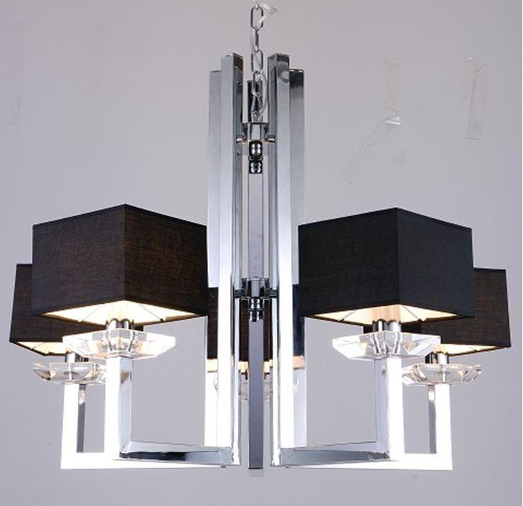 Modrest kr003p 5 modern chrome and black chandelier lamp aloadofball Image collections