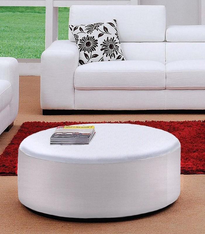 Miami Modern White Fabric Round Ottoman
