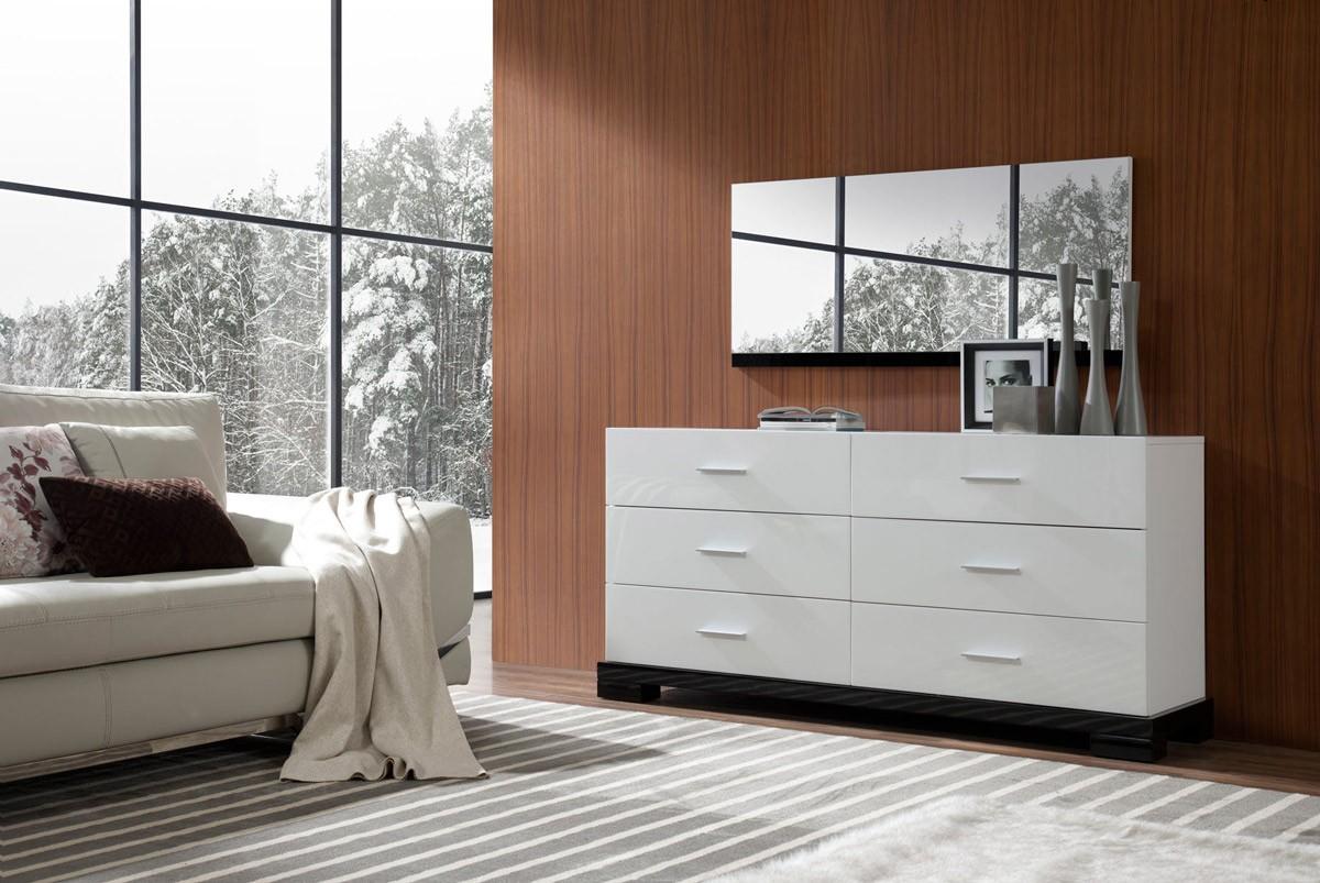 Galaxy Modern White 6 Drawer Dresser