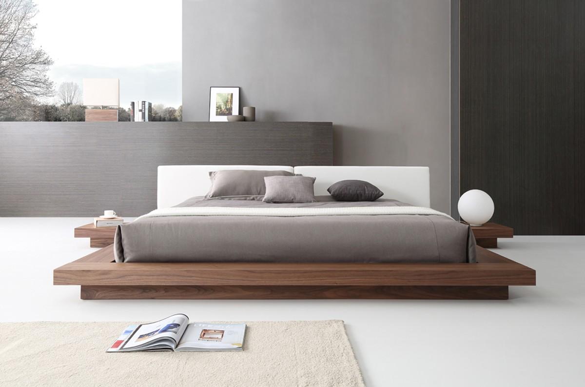 modrest opal modern walnut white platform bed. Black Bedroom Furniture Sets. Home Design Ideas