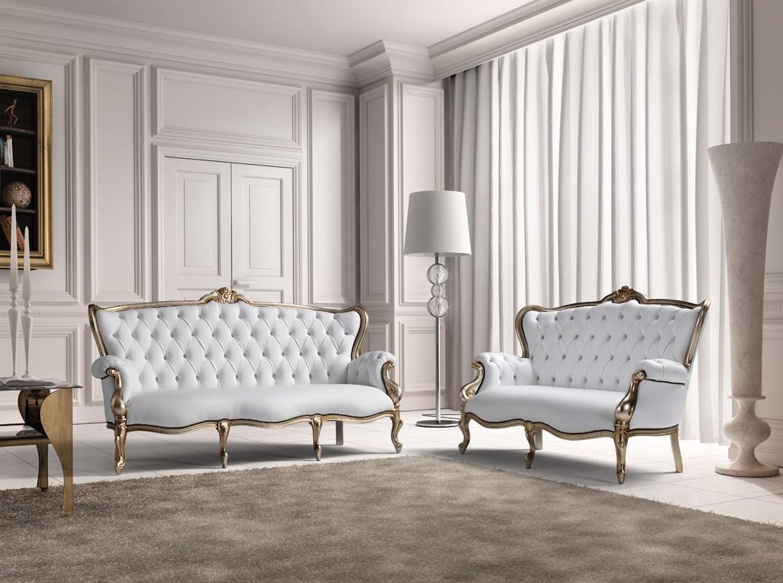 Estro Salotti Bach Modern White Leather Sofa And Loveseat