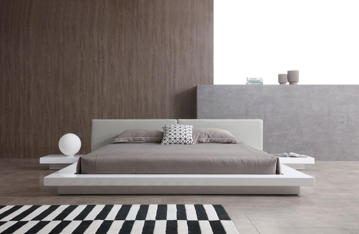 Modrest Opal Modern White Amp Grey Platform Bed