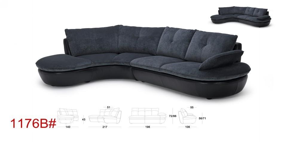Lotus Modern Black Microfiber Sectional Sofa