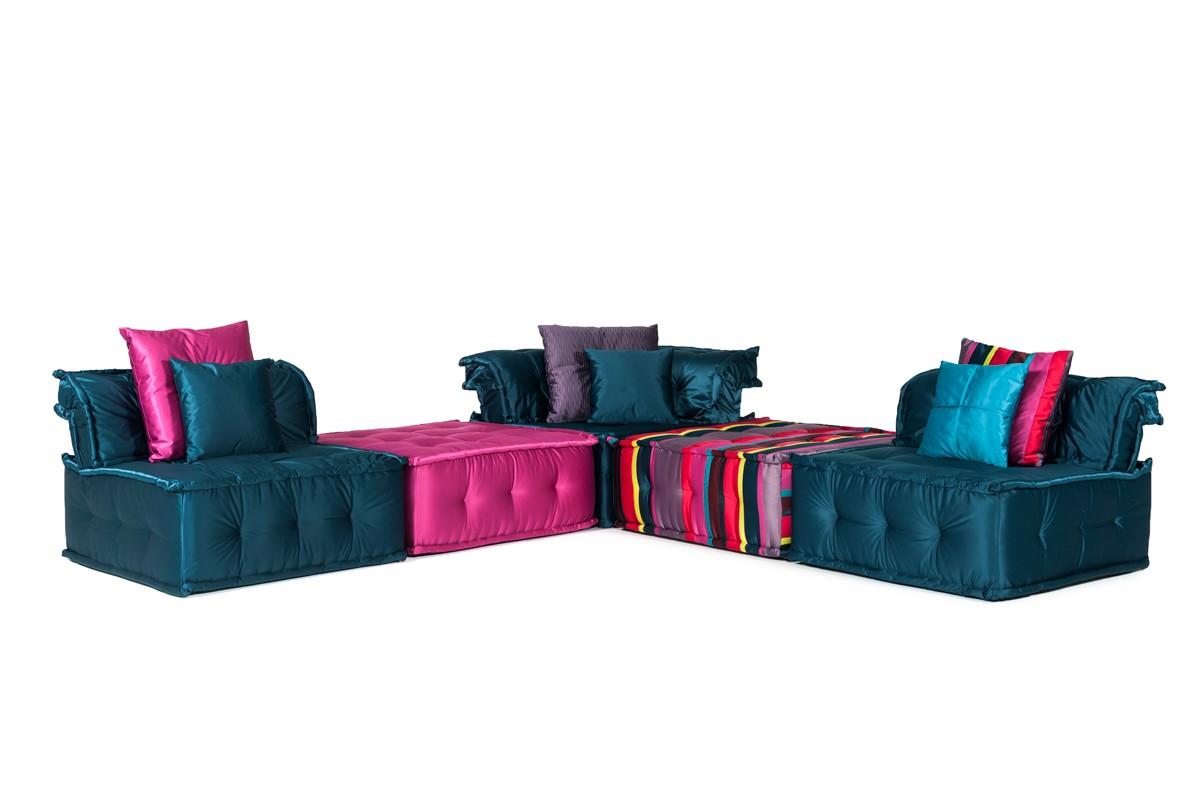 Versus Chloe Ultra Modern Multi Colored Fabric Sectional Sofa
