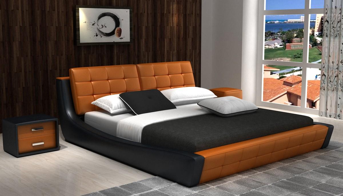 Modrest D539 Modern Orange Amp Black Bonded Leather Bed