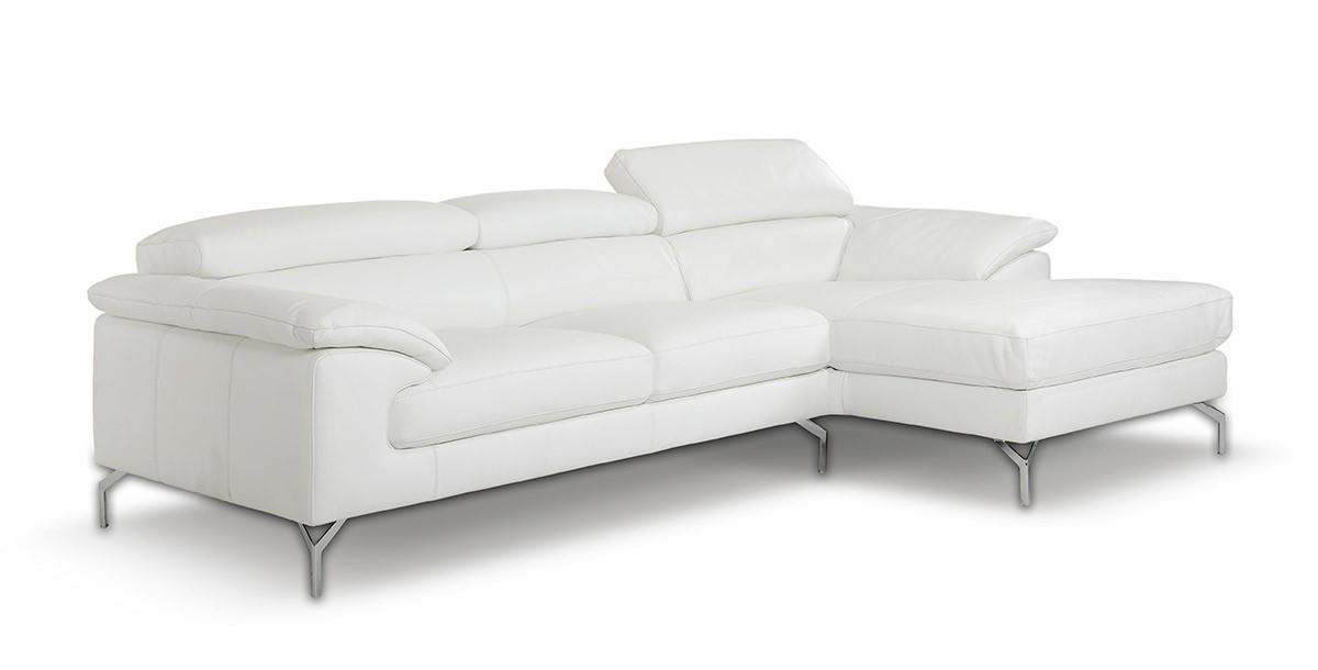 Amalfi modern full leather white sectional sofa for Amalfi chaise lounge