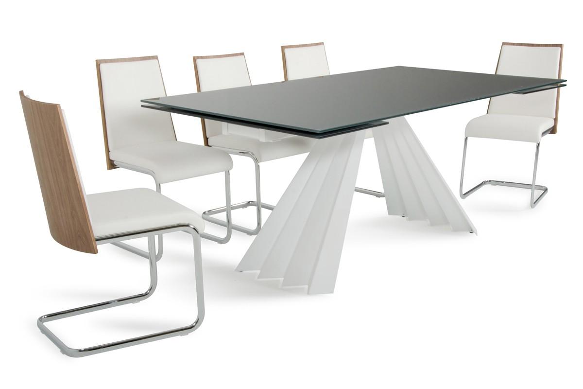 Modrest milk modern extendable smoked glass dining table for Extendable glass dining table