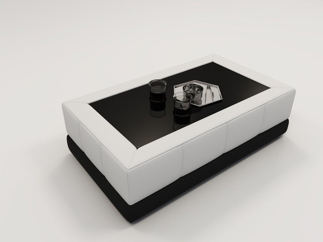 White leather coffee tables Luxury Modern Miami Divani Casa Ev26 Modern Black White Bonded Leather Coffee Table