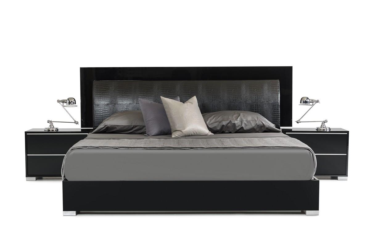 Grace Italian Modern Black Bed