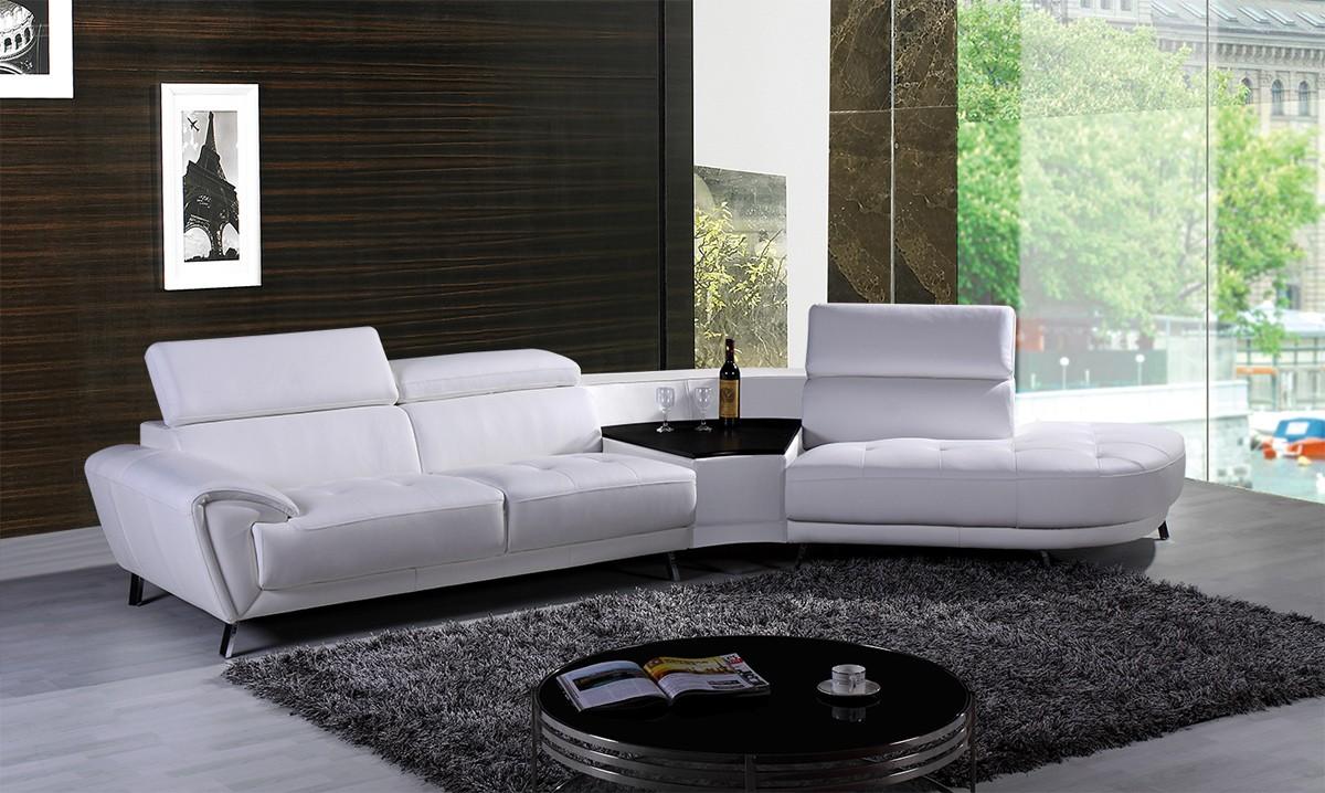 Divani casa raizel modern white leather sectional sofa w for Made divani