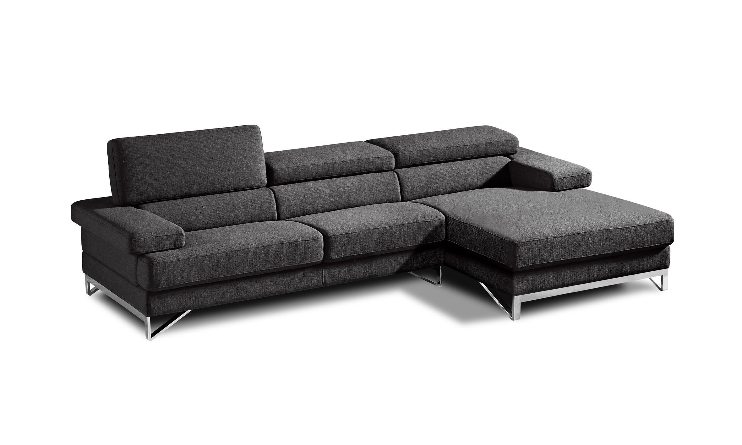 Modern Grey Fabric Sectional Sofa