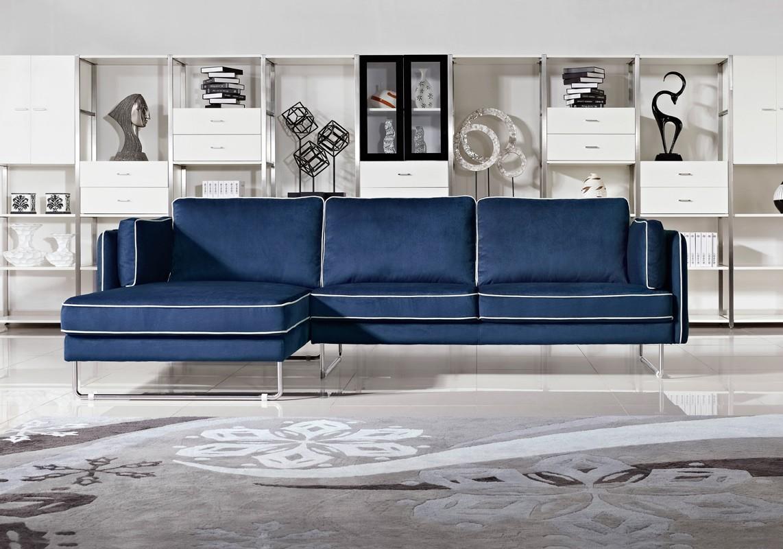 Anchusa Modern Blue Fabric Sectional Sofa