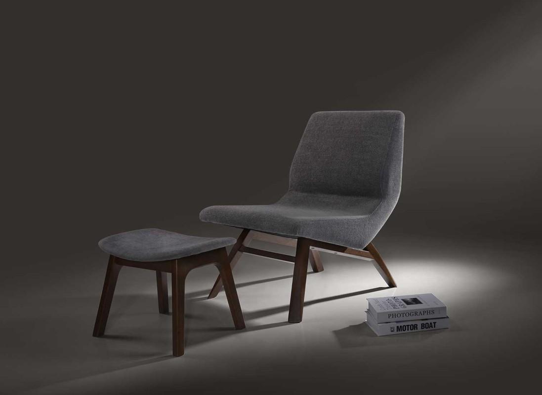 Awesome Modrest Whitney Modern Grey Walnut Accent Chair Ottoman Inzonedesignstudio Interior Chair Design Inzonedesignstudiocom