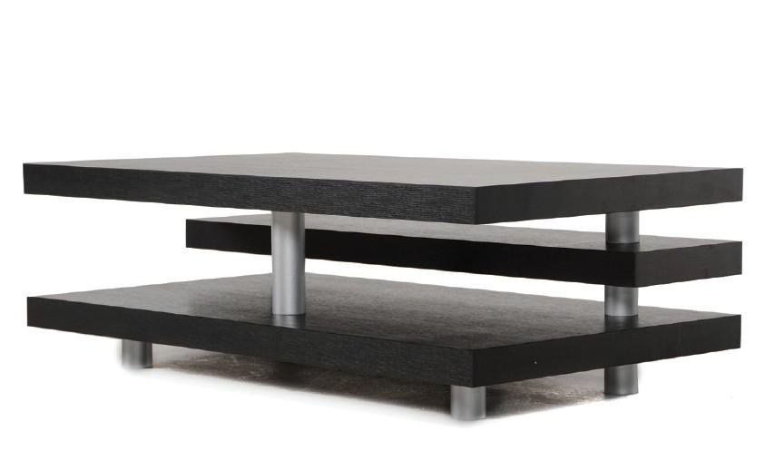 Adrian Modern Multi Tier Black Oak Coffee Table