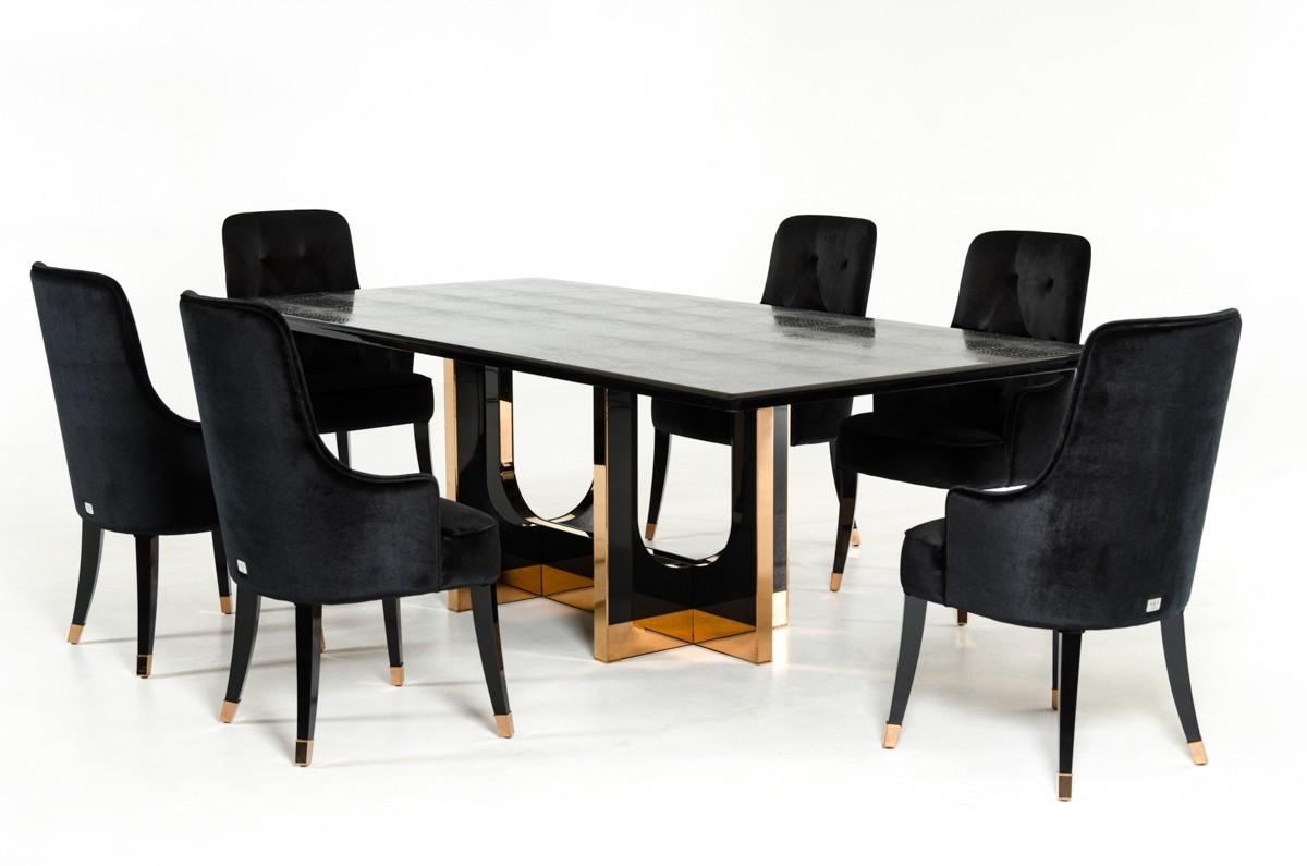 A Amp X Padua Modern Large Black Crocodile Amp Rosegold Dining Table