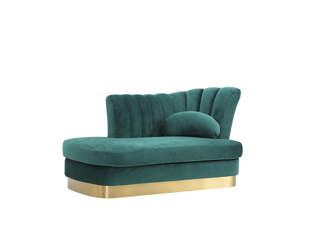 Divani Casa Arvada Modern Green Velvet Amp Gold Loveseat Chaise