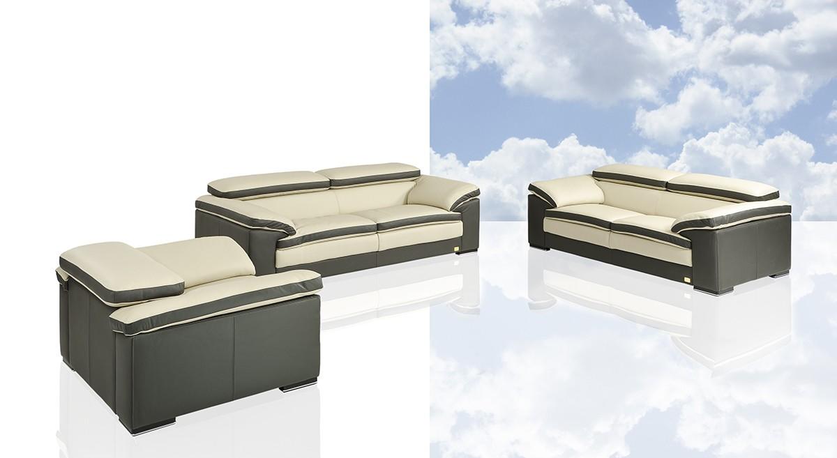 Samoa Modern Two Tone Italian Leather Sofa Set