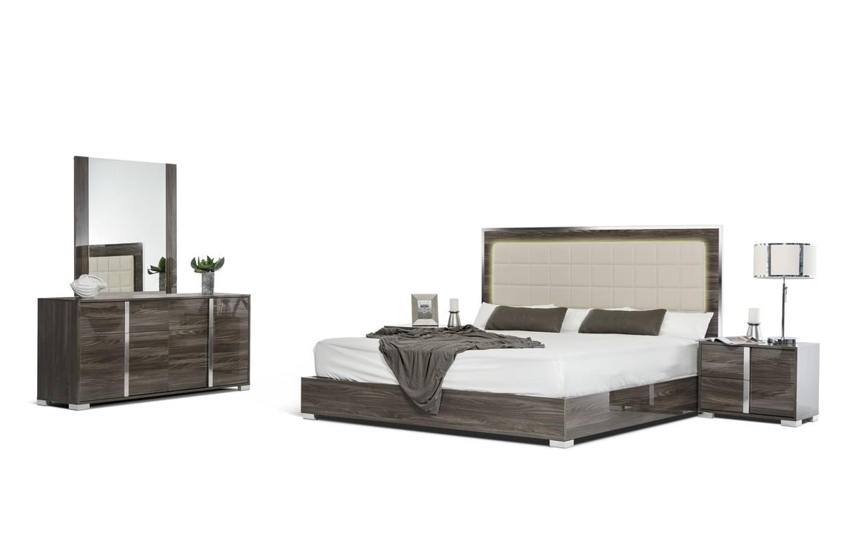 Modrest san marino modern grey bedroom set for Grey bedroom furniture set