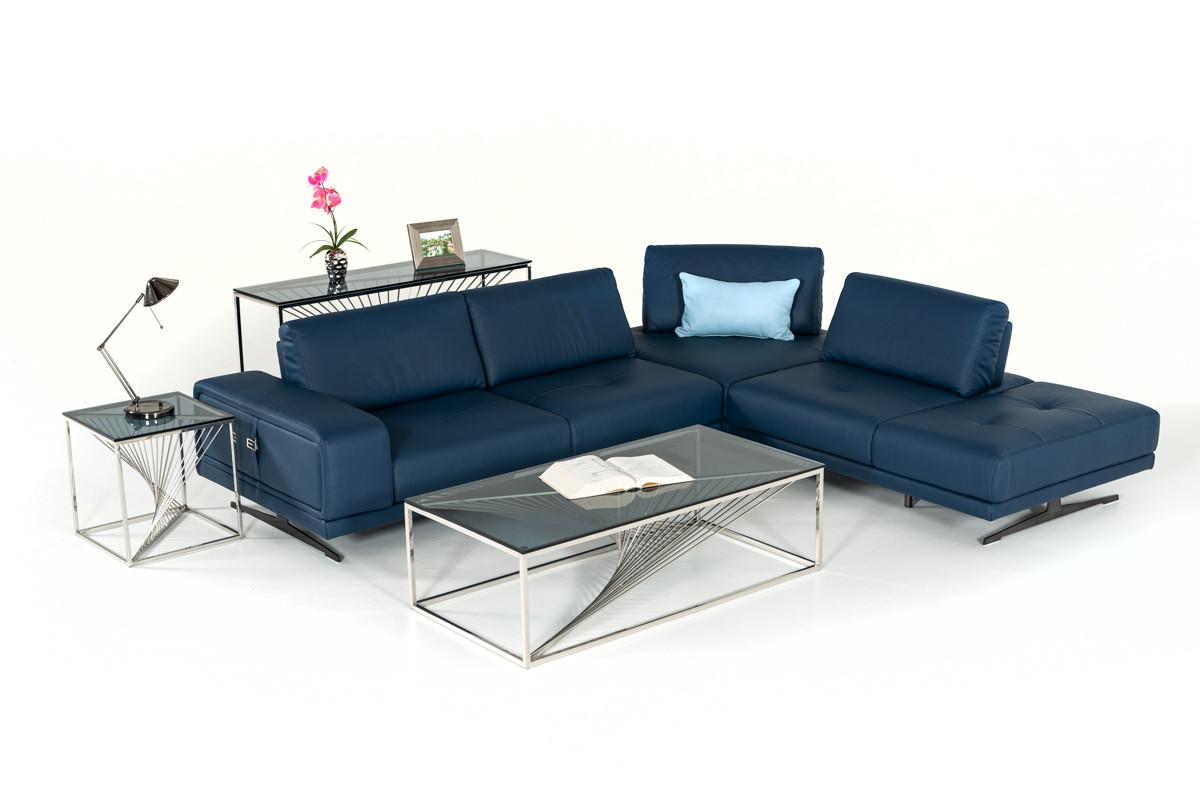 Estro Milano Spazio Italian Modern Blue Leather Sectional Sofa