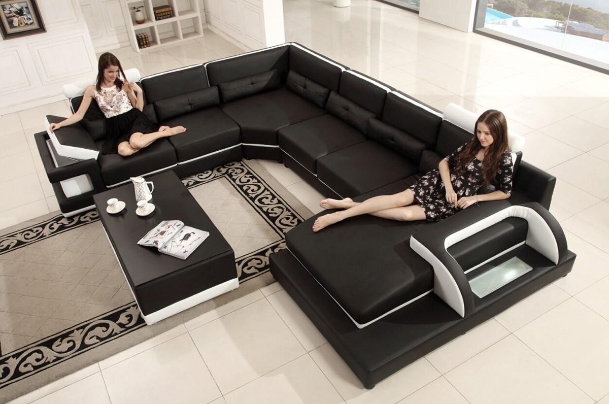 Prime Divani Casa T703 Modern Black White Eco Leather Sectional Sofa Short Links Chair Design For Home Short Linksinfo