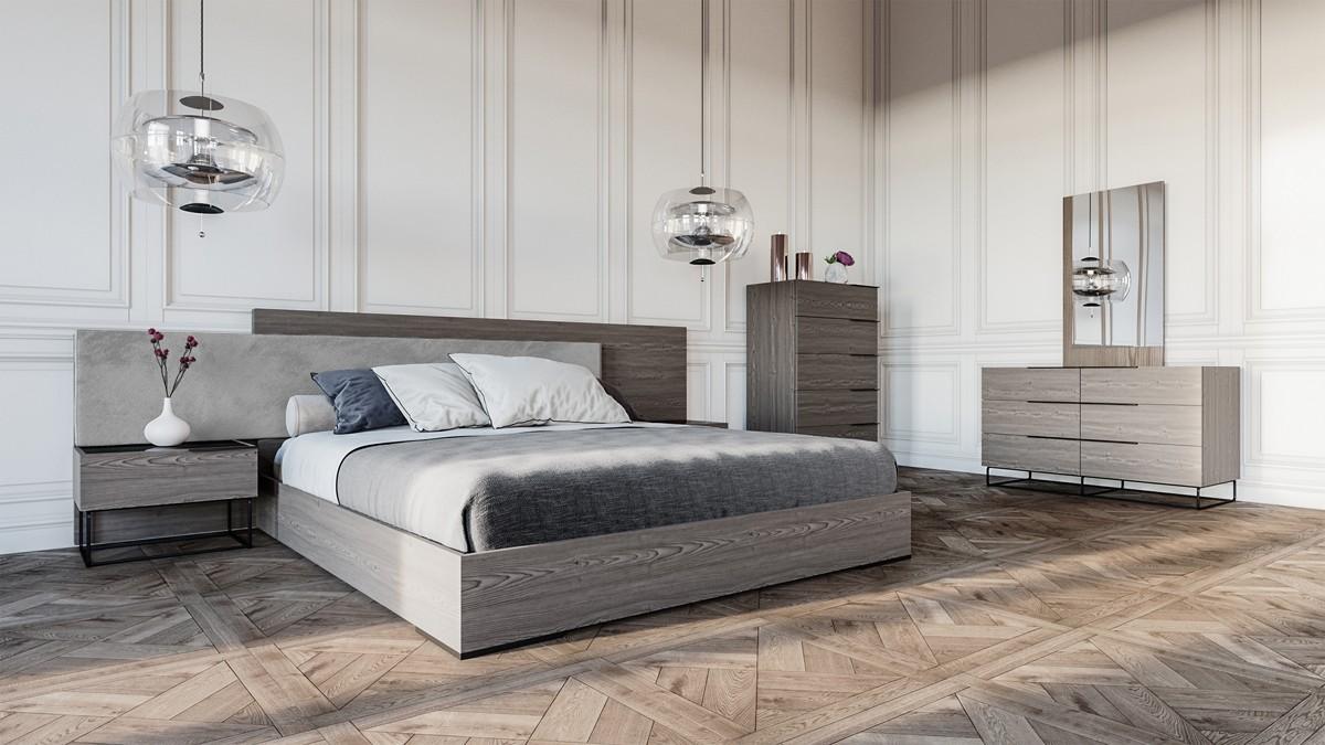 Roma Walnut Contemporary Bed: Nova Domus Enzo Italian Modern Grey Oak & Fabric Bedroom Set
