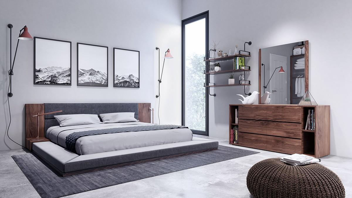 . Nova Domus Jagger Modern Dark Grey   Walnut Bedroom Set