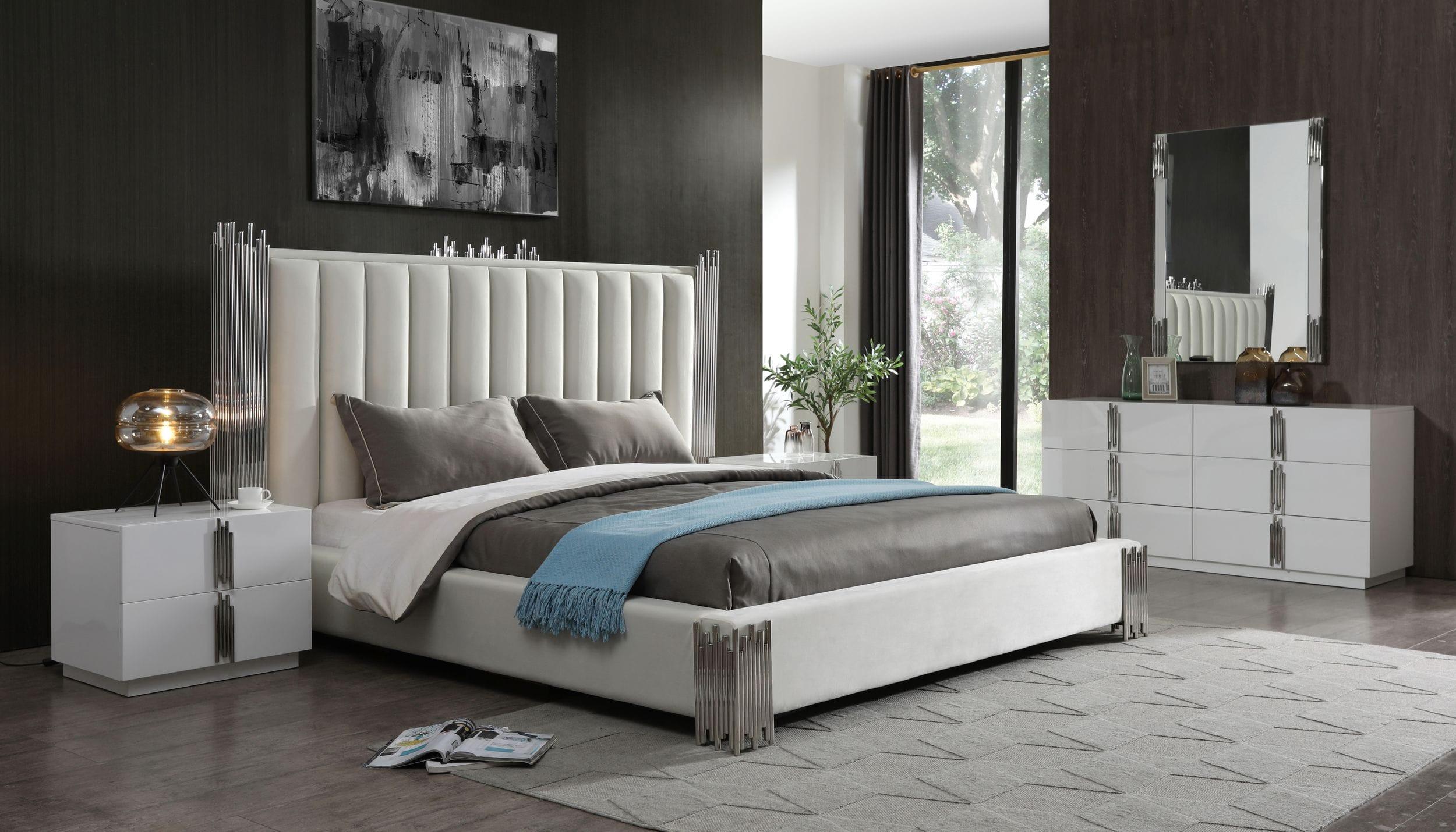 modrest token  modern white  stainless steel bedroom set