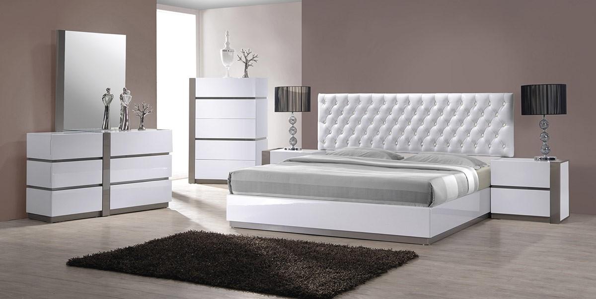 vero modern white tufted bedroom set - Modern Bedroom Sets