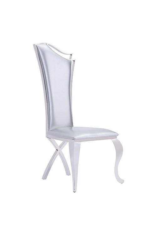 Super Modrest Bonnie Modern Silver Leatherette Stainless Steel Machost Co Dining Chair Design Ideas Machostcouk