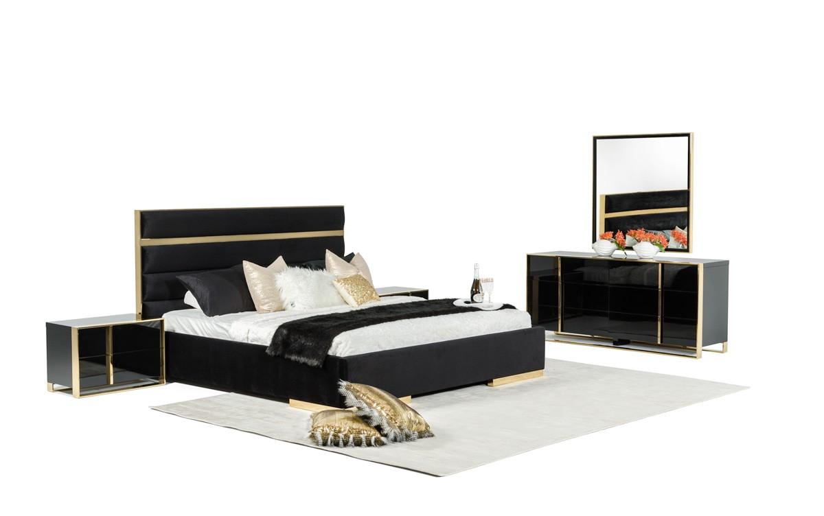 Modern black bedroom sets - Nova Domus Montblanc Modern Black Gold Bedroom Set