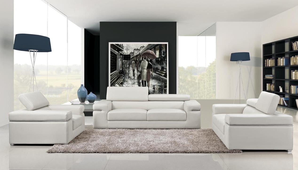 Atlantis Modern White Bonded Leather Sofa Set Part 59
